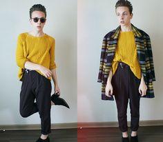 Zara Coat, Zara Sweater, American Apparel Pleated Pants, Zara Ankle Boots, American Apparel Belt