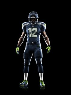 Seattle Seahawks new uniform . fat football players will not look this good. Seahawks News, Seahawks Football, Best Football Team, Nike Football, Football Fever, Football Food, Football Uniforms, Nfl Seattle, American Football