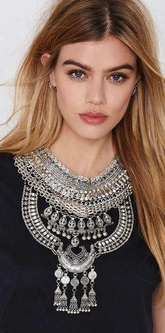 Boho statement bib necklace