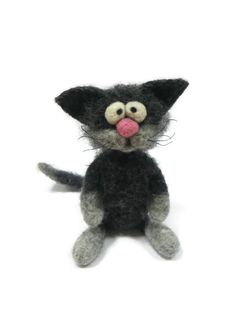Cat. Needle Felted Cat. Grey Cat. Fanny by HandMadeArtForYou