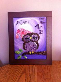 Button Art - Sleeping Owl