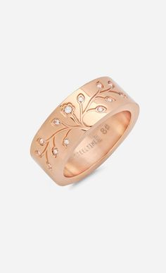 Simulated Diamond & Rose Gold Tree of Life Ring || so. white gold. big center diamond. med his + her birthstones. small kids' birthstones. WANT.