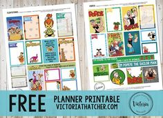 Flintstones and Popeye FREE Planner Printables. Victoria Thatcher