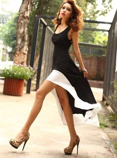 Sexy Sleeveless Fishtail Midi Dress-I like the whole outfit Look Fashion, Fashion Beauty, Womens Fashion, Street Fashion, Fashion Ideas, Fashion Black, 20s Fashion, Fashion 2015, Travel Fashion