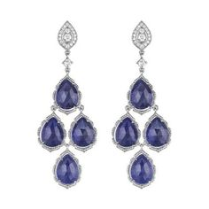 Blue Sapphire Cluster Earring by Penny Preville!