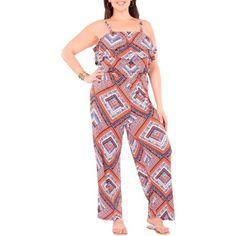 Plus Moda Women's Plus-Size Pretty Peasant Flounce Top Jumpsuit with Removable Straps - Walmart.com