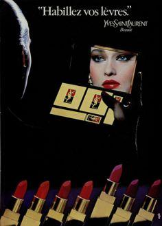 Beauty ad for YSL lipstick Vintage Makeup Ads, Vintage Ysl, Vintage Glamour, Vintage Beauty, Vintage Fashion, Yves Saint Laurent, Saint Yves, Ysl Lip, Lipstick