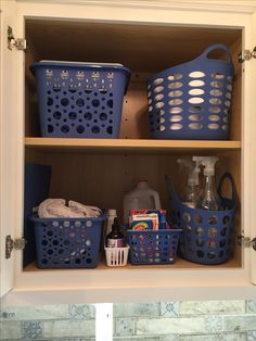 AFTER: Cabinet organization a la Dollar Tree Dollar Tree, Laundry Room, Organization, Cabinet, Getting Organized, Clothes Stand, Organisation, Closet, Laundry Rooms