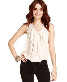 6 Degrees Juniors Top, Sleeveless Ruffled - Juniors Tops - Macy's