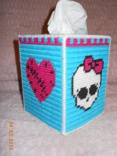 Monster High Inspired Plastic Canvas Tissue Box Cover by PCDesignz, $3.00