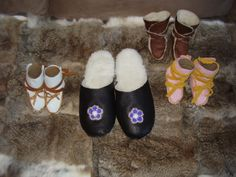 Adult Black Slip on Moccasins and Baby Moccasins