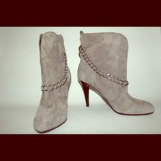 BCBGeneration booties Grey suede heeled booties with chain accent. Worn once. Great condition. Super cute BCBGeneration Shoes Ankle Boots & Booties