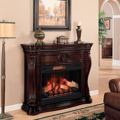 Lexington Cherry Electric Fireplace from Kirkland's Metal On Metal, Traditional Fireplace, Fireplace Inserts, Electric Fireplace, Fine Furniture, Newcastle, Bristol, Clear Glass, Stove