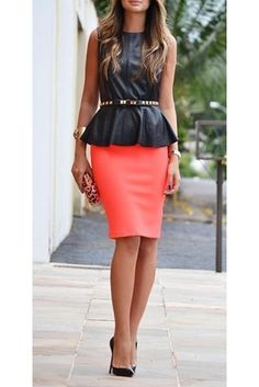 LOVE the leather with a pop of color. Ive been wondering what to wear with my leather peplum shirt!