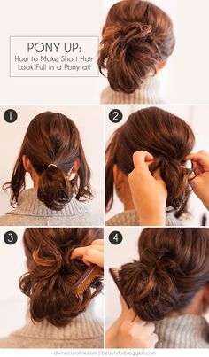 Beautiful Get an elegant, full ponytail even with short hair. The post Get an elegant, full ponytail even with short hair. Insane Looking for some nice and easy ponytail hairstyles idea? We are here with five nice and easy ponytail hairstyles. Ponytails a Holiday Hairstyles, Cute Hairstyles For Short Hair, Up Hairstyles, Pretty Hairstyles, Wedding Hairstyles, Ponytails For Short Hair, Short Hair Updo Easy, Easy Updo, Short Hair Dos