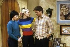 John Ritter, Priscilla Barnes and Joyce DeWitt in Three's Company Santa Monica Apartment, Priscilla Barnes, John Ritter, Three's Company, Funny Character, Old Tv Shows, So Little Time, Beautiful Actresses, Over The Years