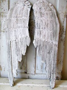Distressed wooden angel wings wall hanging French Nordic white w/ light gray shabby cottage chic distressed wing set anita spero design