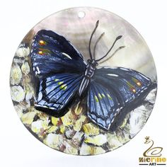 Hand Painted  Butterfly Pendant Natural Black Lip Shell Multi Color Necklace #ZL #Pendant