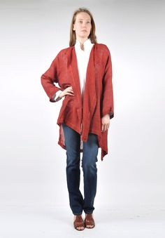 Eskandar Open Front Light Linen Cardigan in Ruby Dark » Santa Fe Dry Goods | Clothing and accessories from designers including Issey Miyake, Rundholz, Yoshi Yoshi, Annette Görtz and Dries Van Noten