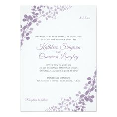 Exquisite Vines Wedding Invitation | Light Purple - wedding invitations cards custom invitation card design marriage party