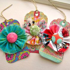 Gift Tags Tags Paper and Fabric Flower Gift Tags by tracyBdesigns, $6.50
