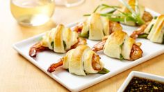Wewalka Wrapped Shrimp Appetizer: Asian fusion at its best- sweet and spicy shrimp wrapped in a crispy, fluffy dough!  http://wewalka.us/recipes/wrapped-shrimp-appetizer