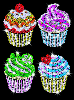 Sequin Art Craft Kit Cupcakes 1130 | Hobbies