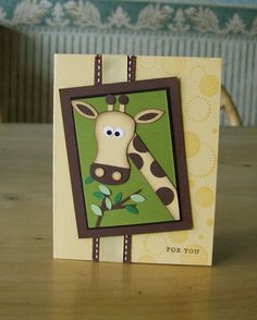 girafe card made with tab punch