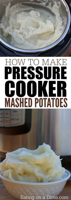 Instant Pot Mashed Potatoes - Easy Pressure Cooker Mashed Potatoes - - Looking for electric pressure cooker recipes? This instant pot mashed potatoes recipe is the best. Pressure cooker mashed potatoes is the only way to go. Instant Pot Mashed Potatoes Recipe, Easy Mashed Potatoes, Mashed Potato Recipes, Cook Potatoes, Skillet Potatoes, Potato Dishes, Roasted Potatoes, Power Cooker Recipes, Pressure Cooking Recipes