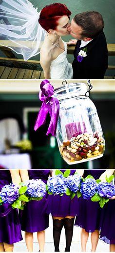 Vibrant Purple Wedding - love the bride's hair!