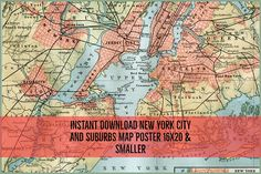 Instant Download Map of New York City and Suburbs 16X20 or