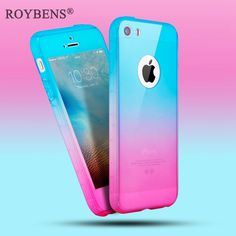 Roybens For iPhone 5S Case 360 Degree Coverage Full Protection Cover For iPhone 5 5S SE Hard PC Case Glass Screen Protector