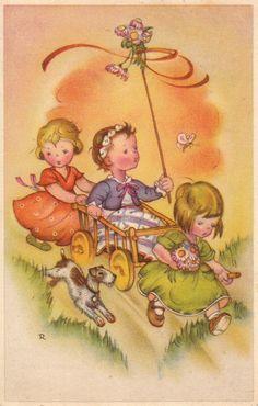 AK, Charlotte Baron, Ostern, Pfingsten, Kl. Mädchen mit Hund bei Spiel u. Spaß* | eBay
