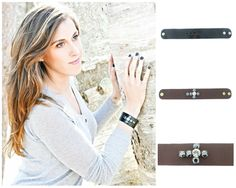 The Branded Leather Line - Wide Leather Bracelet With Cross Design - One 11mm & Five 8.5mm (39ss) Riveted Empty Settings Made In The USA - Las Vegas Rhinestones