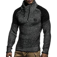 Leif Nelson - Jersey de punto para hombre 'Quilted Biker' Black-Ecru S Sweatshirt Homme, Hoodie, Leif Nelson, Casual Wear, Men Casual, Style Masculin, Herren Outfit, Winter Mode, Mens Clothing Styles