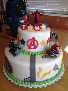 #Avengers cake with #Iron man, #Thor, #Black Widow, #Hawkeye, #Captain America for Anthony's 1st birthday.