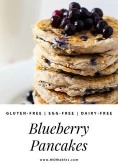 These gluten-free blueberry pancakes are perfectly soft, fluffy, and vegan so everyone can enjoy a stack for breakfast.