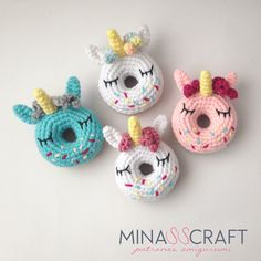 VÍDEO TUTORIAL Send me your wonderful picture of your Finished UNICORN DONUT AMIGURUMI At my Instagram @minasscraft #minasscraft Don't Forget to like, comment, share and subscribe to my channel MATERIALS: Hook N° 3.5mm and 4 mm Worsted weight yarn…