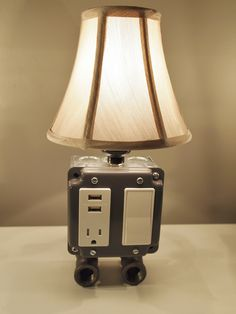Vintage table or desk lamp with USB charging station
