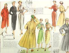 Vintage French fashion magazine Modes & Travaux 1953, fashion news.