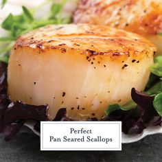 Pan Seared Scallops at home are easy to make. Learn how to prevent your scallops from sticking and get restaurant quality crust every time! #scalloprecipe#howtosearscallops #howtocookscallops www.savoryexperiments.com Crab Cake Recipes, Halibut Recipes, Fish Recipes, Baby Food Recipes, Seafood Recipes, Cooking Recipes, Cooking Tips, Food Baby, Healthy Recipes