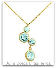 Pendente em ouro 750/18k e água-marinha (750/18k gold pendant with acquamarine)