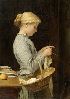 Girl Knitting (1888). Albert Anker (Swiss, 1831–1910). Oil on canvas. Anker's paintings depict his fellow citizens in an unpretentious and plain manner, without idealising country life, but also without the critical examination of social conditions that can be found in the works of contemporaries such as Daumier, Courbet or Millet.
