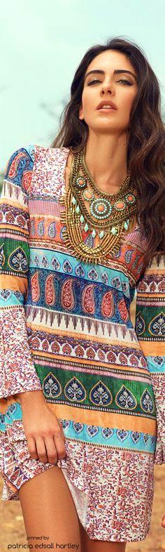 multicolored mixed print tunic shift dress #Unique_Boho_Style