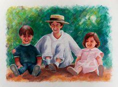 Painting «Les Pitchouns » by Nadine Lière, Acrylic on canvas board, 50 x 40 cm, 2016, grenadine-art.eu