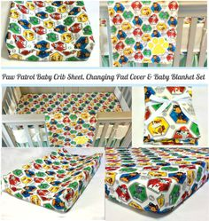 Paw Patrol Baby Crib Sheet Changing Pad by HappyNestByDieulove