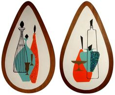 During the the Illinois Moulding Company and Belart Inc. created these still life wall plaques, which were embellished with melted plas. Mid Century Wall Art, Mid Century House, Mid Century Style, Mid Century Design, Vintage Bathroom Decor, Mid Century Modern Decor, Midcentury Modern, Retro Art, Vintage Art