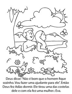 Adam and Eve in the garden of Eden coloring page from Adam ...