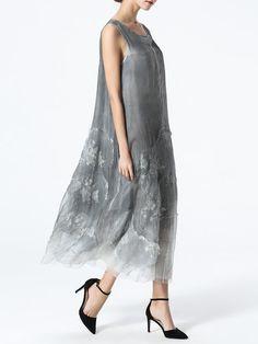 Gray Vintage Silk Embroidered Midi Dress