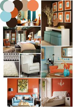 color palette inspo: chocolate brown, coral and robin's egg blue, blue orange living room Living Room Colors, New Living Room, Home And Living, House Colors, Family Room, Bedroom Decor, Interior Design, Chocolate Brown, Chocolate Color